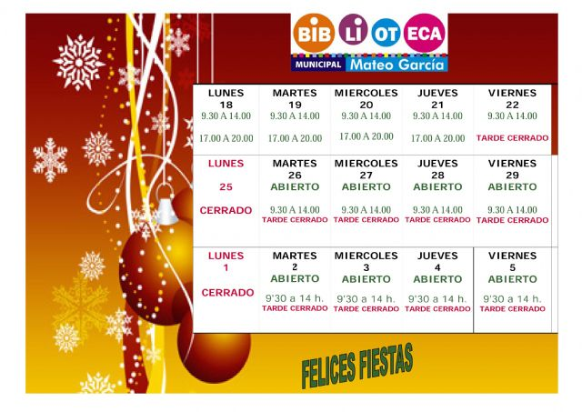 New schedules of the Municipal Library and the Study Room on the occasion of the Christmas and Kings parties, Foto 1