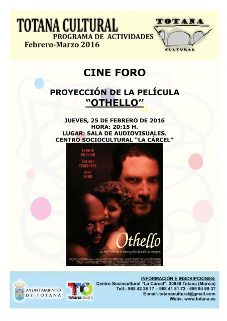"This Thursday the cine-forum activity takes place with the screening of the film ""Othello"""