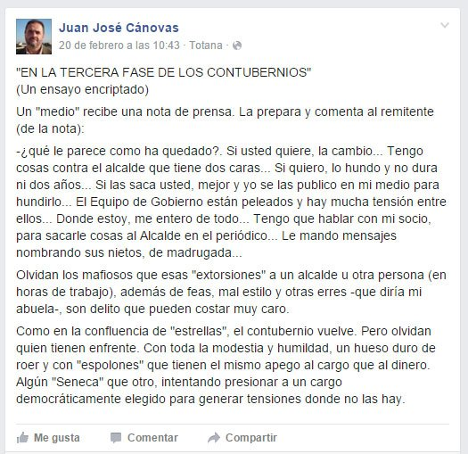 "Juan Jose Canovas warns ""gangsters"" to extort a mayor or another person is a crime that can cost you dearly"