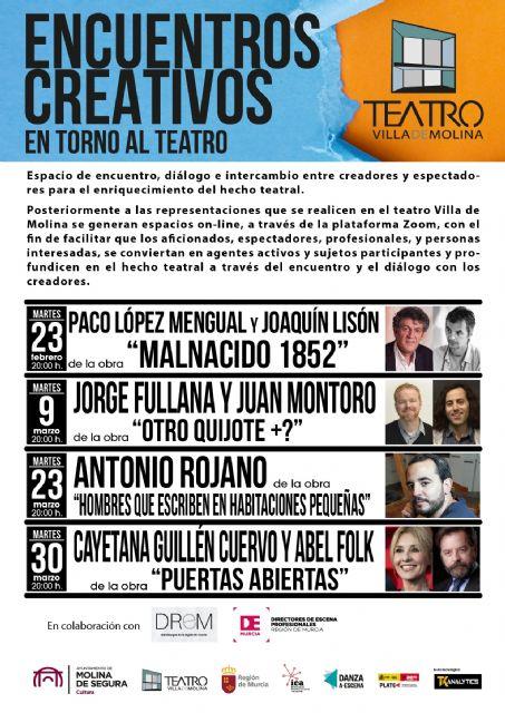 La Concejalía de Cultura de Molina de Segura retoma el programa Encuentros Creativos en torno al Teatro en los meses de febrero y marzo - 1, Foto 1