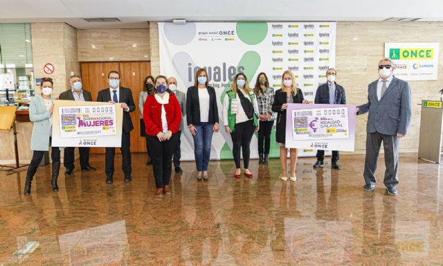 Isabel Franco participa en la presentación de los cupones de la ONCE del Día de la Igualdad Salarial y del Día Internacional de las Mujeres 2021, Foto 1