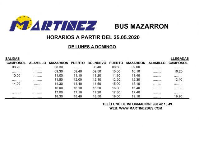 El lunes se reanuda la l�nea de bus urbano de Mazarr�n, Foto 1