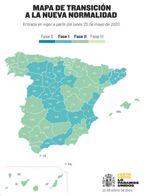 La Región de Murcia pasará el lunes a la Fase 2 de la desescalada