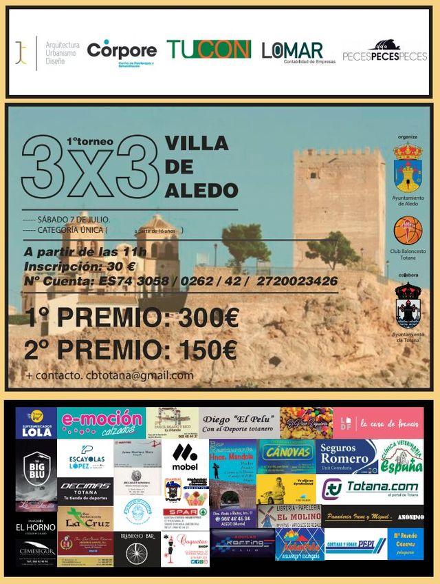 El I 3x3 Villa de Aledo tendrá lugar el próximo el sábado 7 de julio en la Plaza del Castillo - 1, Foto 1