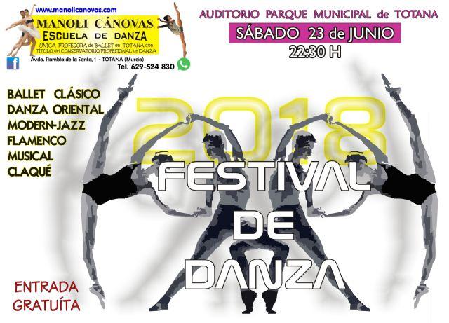 La Escuela de Danza MANOLI CÁNOVAS celebra su FESTIVAL de fin de curso mañana sábado 23 de junio