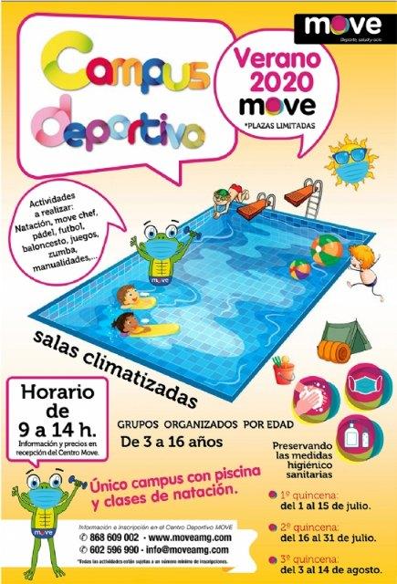 El Centro MOVE organiza el Campus Deportivo de Verano del 1 de julio al 14 de agosto, con piscina y clases de natación para grupos de 3 a 16 años