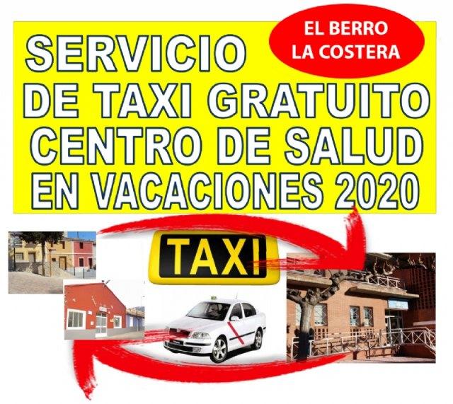 El Berro y La Costera cuentan con un servicio de taxi gratuito al centro de salud de Alhama este verano - 1, Foto 1