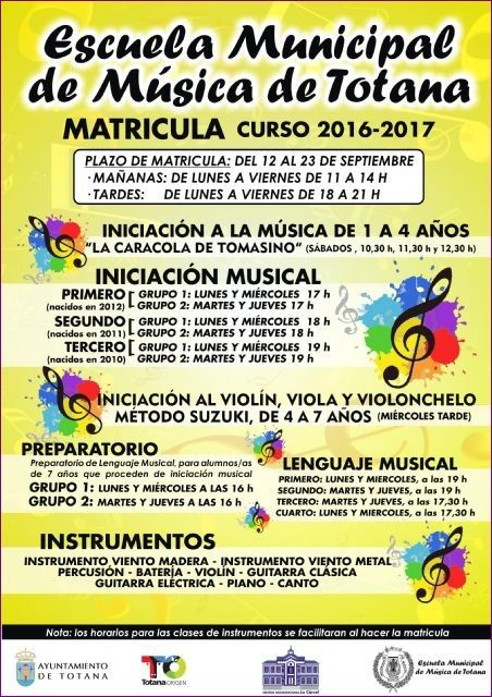 Tomorrow is the deadline for registration of the Municipal School of Music of Totana for the course 2016/17