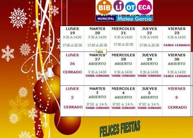 New schedules of the Municipal Library and the School Room on the occasion of Christmas and Kings, Foto 1