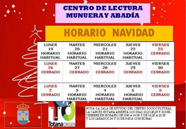 New schedules of the Municipal Library and the School Room on the occasion of Christmas and Kings, Foto 2