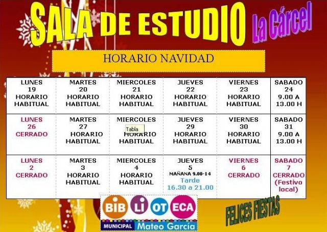 New schedules of the Municipal Library and the School Room on the occasion of Christmas and Kings, Foto 3