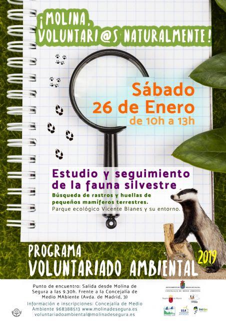 El Programa de Voluntariado Ambiental de Molina de Segura ¡Voluntari@s Naturalmente! colabora en el estudio y seguimiento de la fauna silvestre en el Parque Ecológico Vicente Blanes el sábado 26 de enero - 1, Foto 1