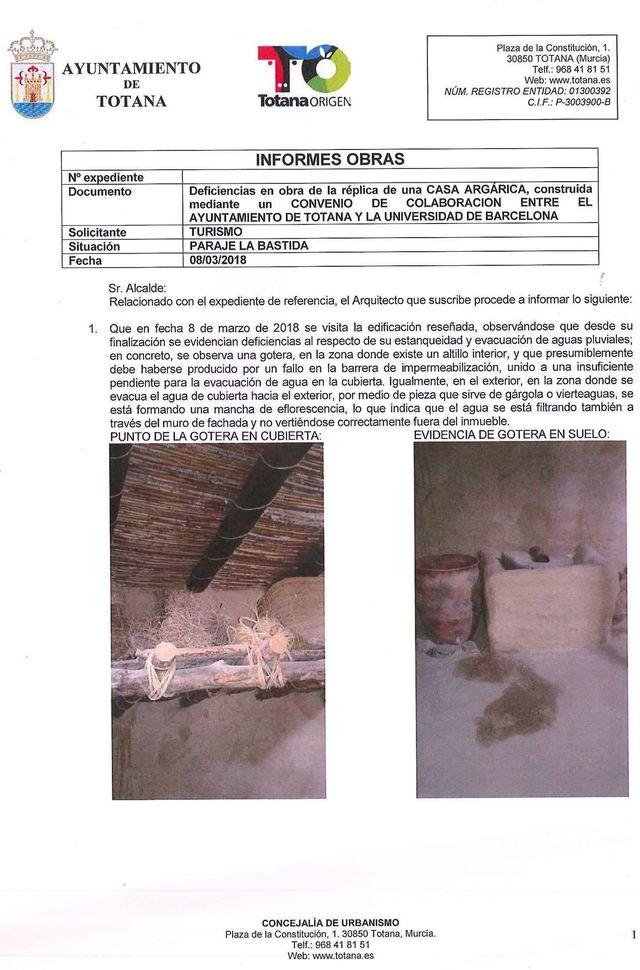 El concejal de Yacimientos Arqueológicos hace público el informe del arquitecto municipal sobre las deficiencias en la casa argárica, Foto 1