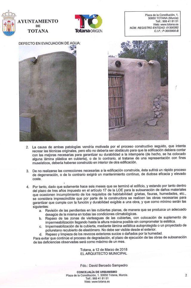 El concejal de Yacimientos Arqueológicos hace público el informe del arquitecto municipal sobre las deficiencias en la casa argárica, Foto 2