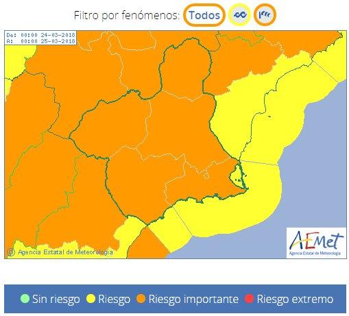 Protección Civil Totana alerta de aviso naranja en la Región de Murcia por viento, Foto 1