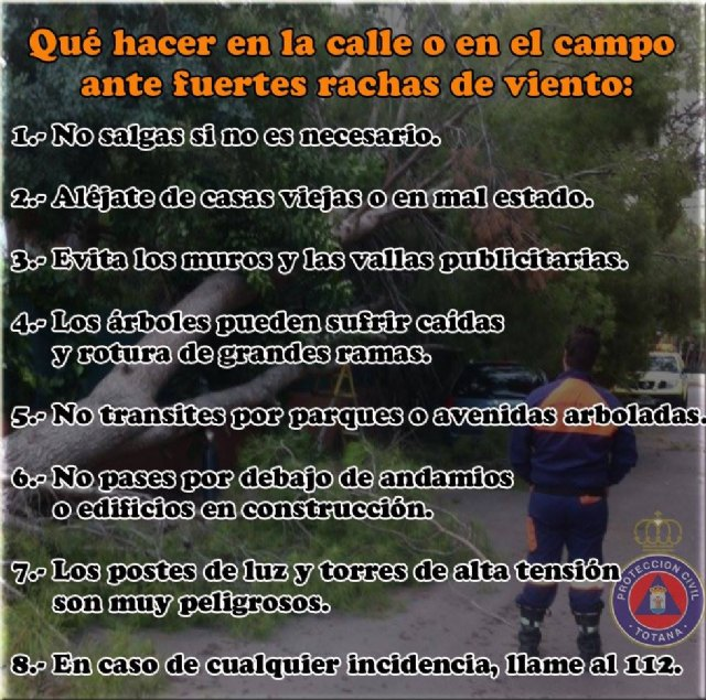 Protección Civil Totana alerta de aviso naranja en la Región de Murcia por viento, Foto 3