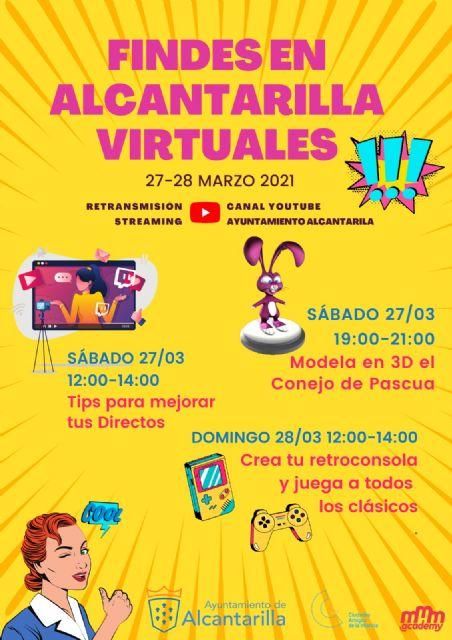 Tres nuevas actividades online dirigidas a todos los públicos para los 'Findes Virtuales' de Alcantarilla - 1, Foto 1