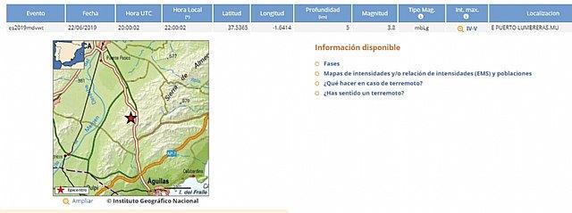 Se ha registrado un movimiento sísmico de magnitud 3,8, intensidad máxima de IV-V, profundidad 5 Km a las 22:00 horas epicentro en Puerto Lumbreras
