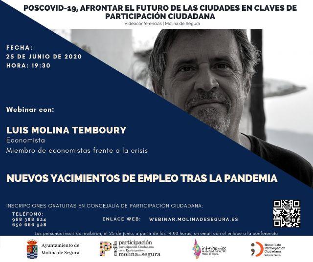 Luis Molina Temboury cierra las Jornadas de videoconferencias Poscovid-19, afrontar el futuro de las ciudades en claves de Participación Ciudadana en Molina de Segura el jueves 25 de junio - 1, Foto 1