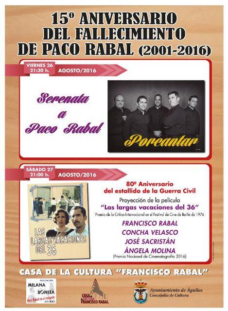 Milana Bonita y ayuntamiento de �guilas recuerdan a Paco Rabal en el aniversario de su fallecimiento, Foto 1