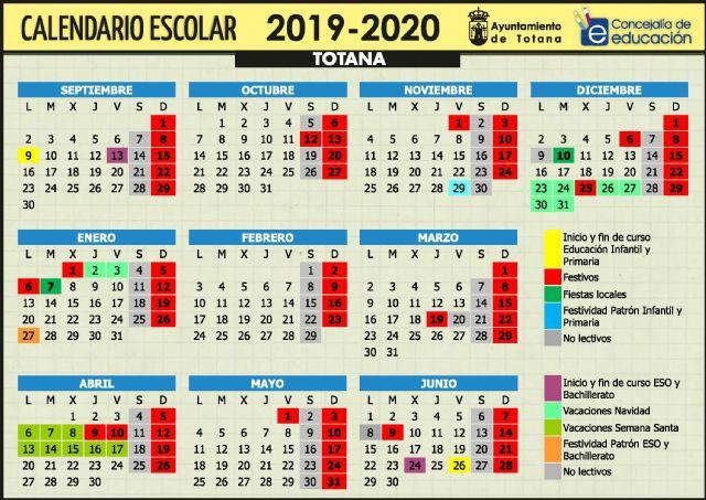 Este curso escolar 2019/20 en el municipio de Totana comenzar� en Educaci�n Infantil y Primaria el pr�ximo 9 de septiembre; mientras que en la ESO y Bachillerato lo har�n el 13 y en FP el 17 del mismo mes, Foto 1