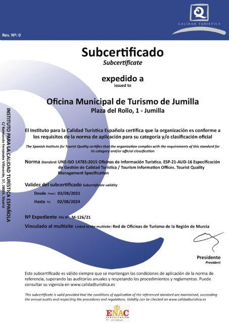 La Oficina de Turismo de Jumilla ya cuenta con las certificaciones Q de Calidad y SAFE - 1, Foto 1