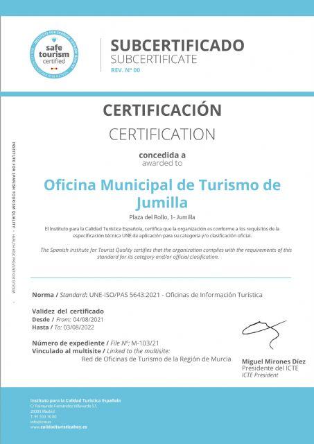La Oficina de Turismo de Jumilla ya cuenta con las certificaciones Q de Calidad y SAFE - 2, Foto 2