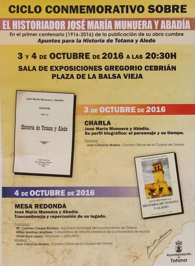 Esta semana se celebra el Ciclo Conmemorativo sobre el historiador José María Munuera y Abadía, Foto 2