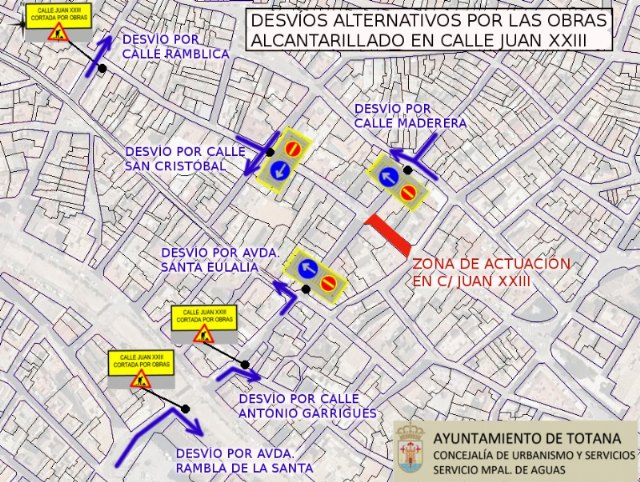 Traffic cut in Calle Juan XXIII due to the Installation of a Sewer Network Section next Wednesday 25