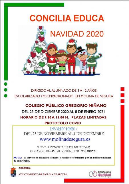 La Concejalía de Igualdad de Molina de Segura abre el plazo de inscripción para el Servicio Concilia Educa Navidad 2020 - 1, Foto 1
