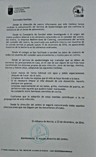 El Servicio de Epidemiología confirma la existencia de un brote de salmonelosis en Alhama, Foto 1