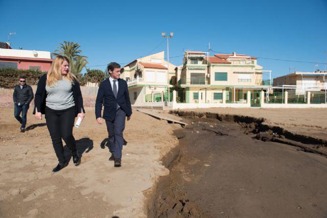 El Delegado del Gobierno comprueba los daños en la costa de Mazarrón ocasionados por el temporal, Foto 3
