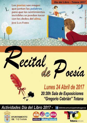 La Concejalía de Cultura conmemora hoy el Día del Libro con un Recital de Poesía y la VII edición del