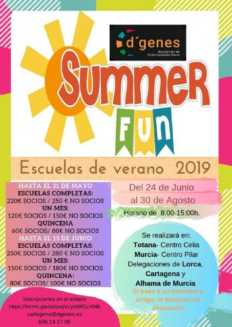 D´Genes organiza su programa de Escuelas de Verano en Murcia, Totana, Lorca, Alhama de Murcia y Cartagena, Foto 1