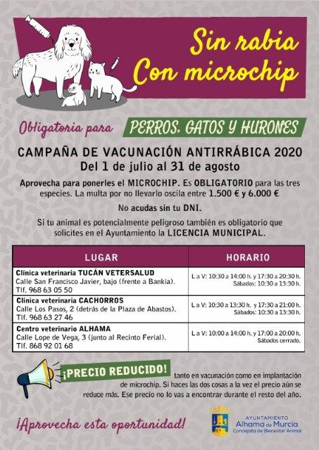 Campaña de vacunación antirrábica y microchip 2020. Del 1 de julio al 31 de agosto, Foto 2