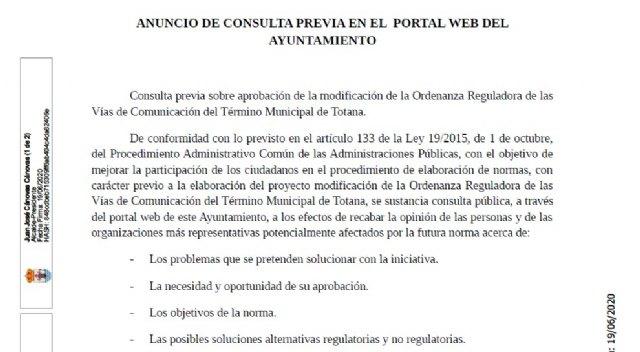 Publican en la web municipal el anuncio de consulta previa sobre aprobación para modificar la Ordenanza Reguladora de las Vías de Comunicación de Totana - 4, Foto 4