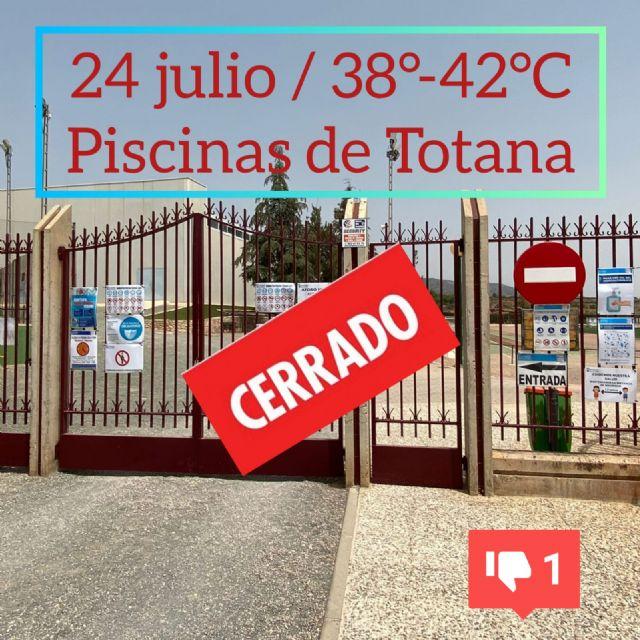 [24 de julio, 38°- 42°C y las piscinas públicas de Totana permanecen cerradas