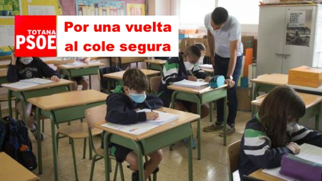 The PSOE urges the Mayor and the Councilor for Education to urgently convene the Municipal School Council to demand a safe return to the classroom