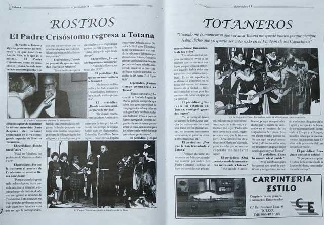 ROSTROS TOTANEROS. El Padre Crisóstomo regresa a Totana - 4, Foto 4