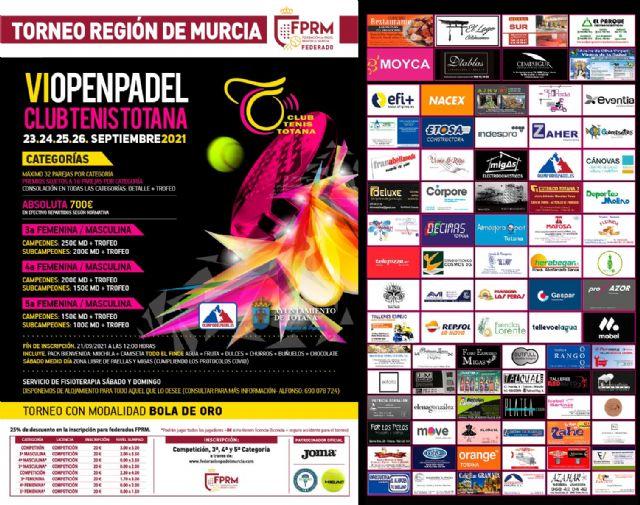 La VI edición del Open de Pádel Totana tendrá lugar este fin de semana