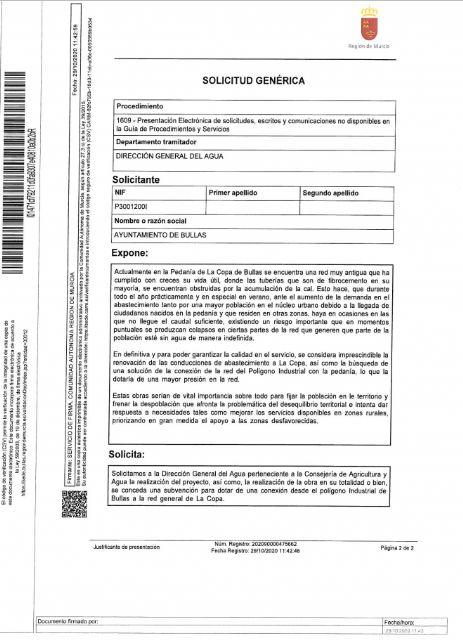 El Ayuntamiento de Bullas contesta a las acusaciones de mentir a los vecinos de La Copa a la hora de instar a la DGA la mejora en la red de abastecimiento - 1, Foto 1