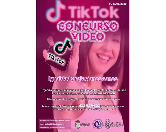 The Department of Women and Equality organizes the Video Contest 'Tiktokers Equality and Healthy Relationships'