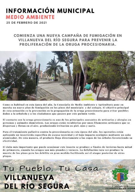 Comienza una nueva campaña de fumigación en Villanueva del Río Segura para prevenir la proliferación de la oruga procesionaria - 1, Foto 1