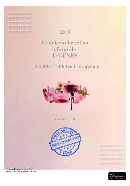 Mañana viernes, 26 de mayo, tendrá lugar en Platea Loungebar un concierto a beneficio de D´Genes, con la actuación de Fran Nortes y Víctor