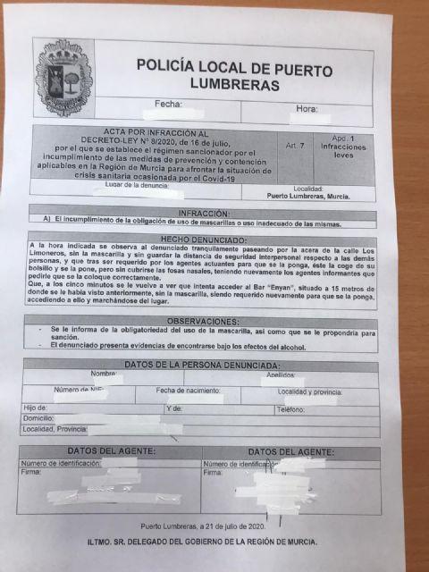 La Policía Local de Puerto Lumbreras impone una decena de denuncias en los controles por el uso obligatorio de la mascarilla - 1, Foto 1