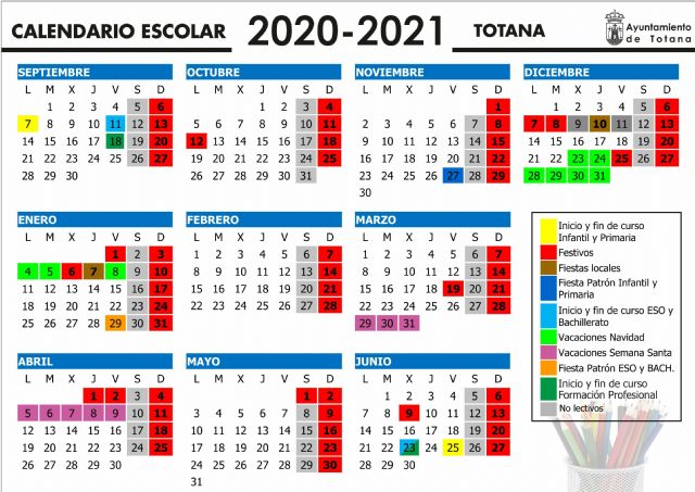 The 2020/21 school year in the municipality of Totana will begin in Early Childhood and Primary Education on September 7