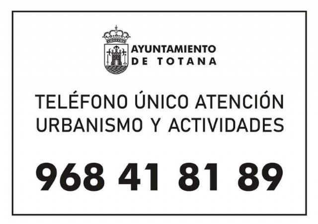 La Concejalía de Urbanismo y Actividades fija el teléfono único de atención 968 41 81 89 a partir del próximo lunes - 1, Foto 1