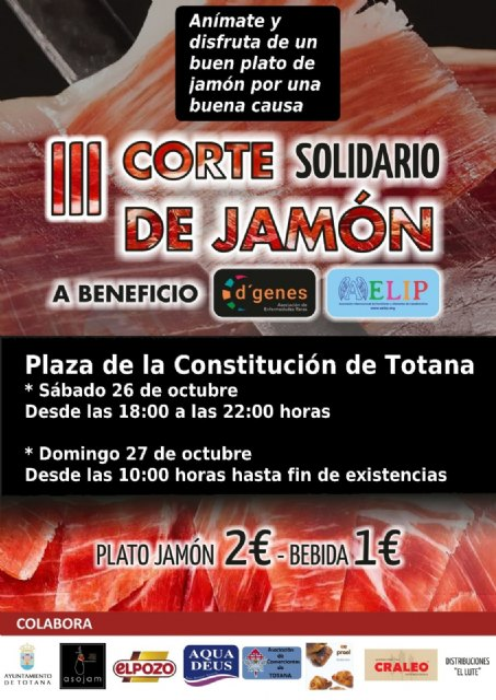 This weekend, the Totana Constitution Square will host a new Solidarity Ham Court for the benefit of D´Genes and AELIP