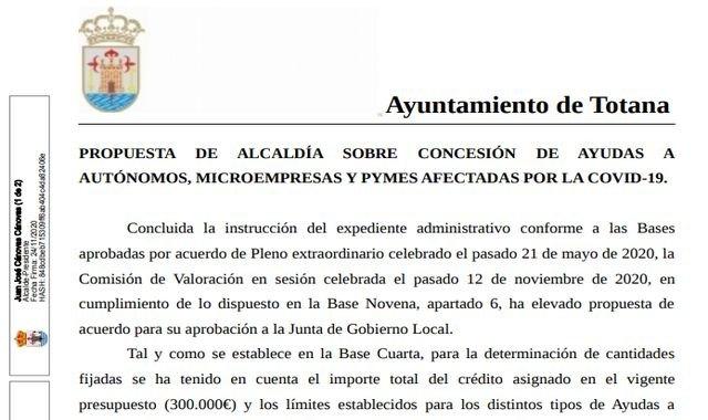 Ganar Totana-IU celebra que hayan comenzado los abonos de ayudas a autónomos, microempresas y pymes afectadas por la Covid-19 - 1, Foto 1