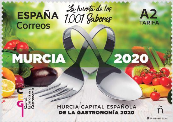 Correos presenta hoy el sello dedicado a la Capital Española de la Gastronomía Murcia 2020 - 1, Foto 1